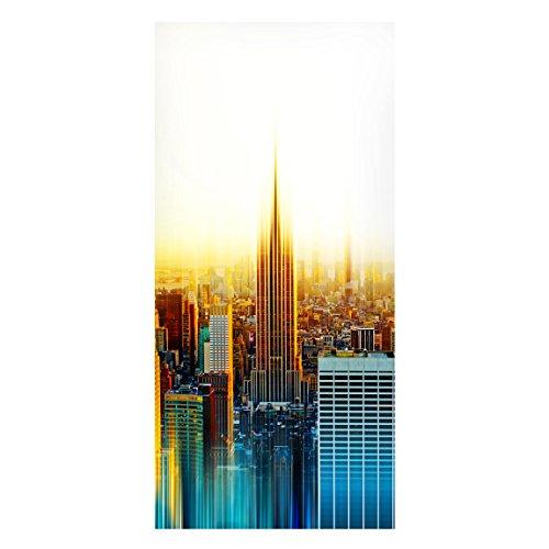 Bilderwelten Magnettafel-Manhattan Abstrakt-Panorama Hochformat Magnet Board Bulletin Board Wandbild Whiteboard magnetisch Wand Metall Nachricht Board Küche Büro, Dimension HxB: 78cm x 37cm (Magnetische Board Bulletin)