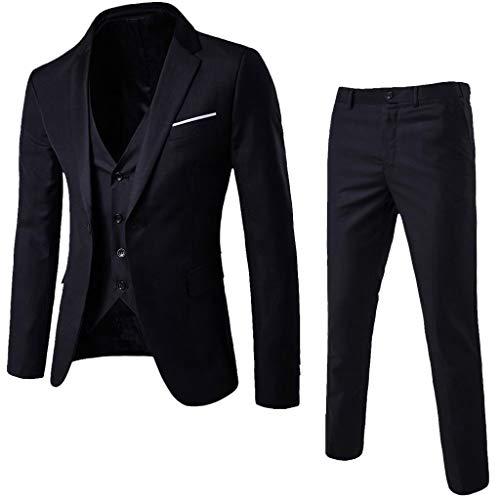 SUCES Herren Anzug,Schmale Blazer Business Hochzeit Party Smoking Sakko Jacke + Weste + Hose Männer Klassisch Charmant Set Modern Cool Mantel (S, Schwarz) (Sport Mann Blazer)