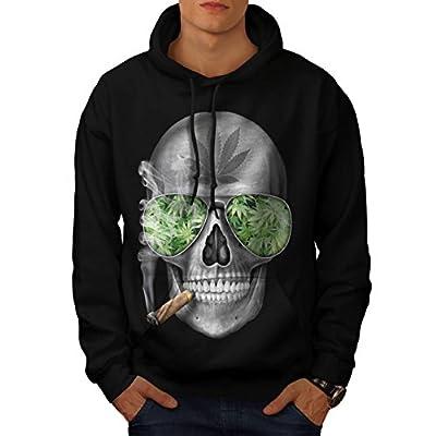 Skeleton Smoke Weed Cool Skull Men NEW Black S-5XL Hoodie | Wellcoda