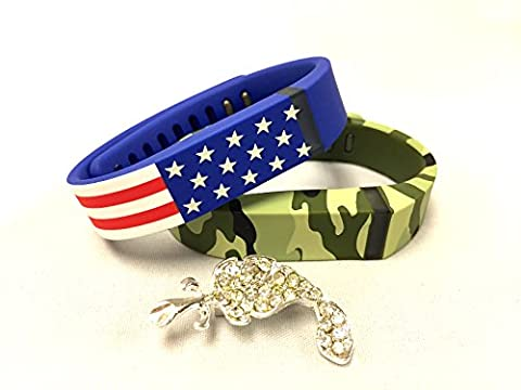 Set Large L 1 Green Camouflage Camo Army Military 1 American Flag Colors Replacement Bands With Clasps for Fitbit FLEX Only /No tracker/ Wireless Activity Bracelet Sport Wristband Fit Bit Flex Bracelet Sport Arm Armband + Nice Crystals Feather Brooch