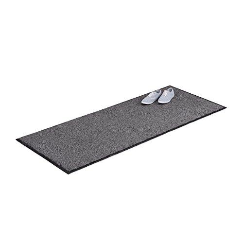 Relaxdays Schmutzfangmatte grau, Fußmatte Innen, Schmutzmatte groß, Fußabtreter dünn, Türmatte 80x200 cm, schwarz-grau