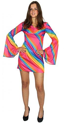Foxxeo 40292 I 70er Jahre Regenbogen Kleid für Damen Hippiekostüm | Größe XS, S, M, L, XL | Kostüm Hippie 70s Gr. Rainbow Disco Flower Power Disko, Größe:M