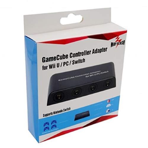 Gamecube Controller Adapter für Nintendo Wii U und PC USB mit 4 Slots (Spiele Mario Wiiu Bros)
