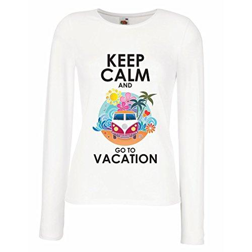 Weibliche Langen Ärmeln T-Shirt Keep Calm and Go to Vacation (Small Weiß Mehrfarben)