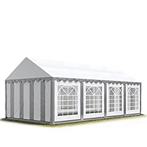 4x8 m Marquee Party Tent with Heavy Duty 500g/m² PVC Waterproof Tarpaulin, All Year Use, Party Wedding Event Tent, Fully Galvanised Frame, grey-white