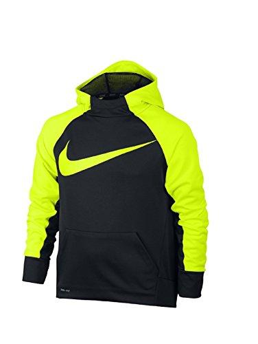 Nike B Nk Thrma Po Felpa con Cappuccio, Nero/Volt, L