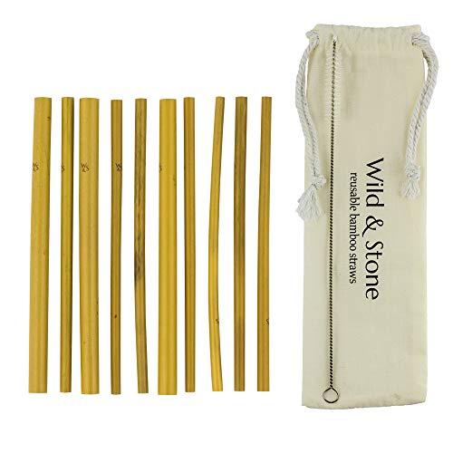 Premium W & S Natürliche wiederverwendbare Bambus-Strohhalme Biologisch abbaubare umweltfreundliche Getränke mit Aufbewahrungsbeutel für Leinen und Recycling-Verpackungen 10er Pack von Wild and Stone (Recycling-verpackung)