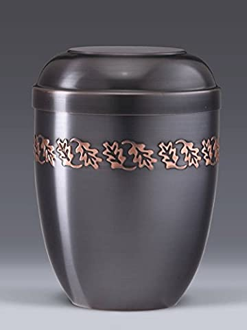 Dark Tinted Metal With Embossed Oak Leaf Band Funeral Cremation