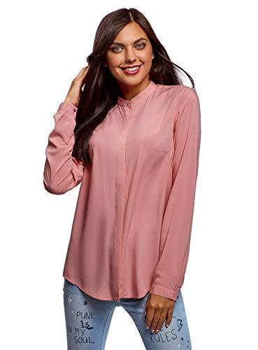 oodji Collection Mujer Blusa de Viscosa con Cuello Mao, Rosa, ES 44 / XL