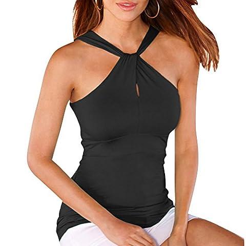 Femmes Sans Bretelles T-shirt Sans Manches Camisole Débardeur Gilet Noir L
