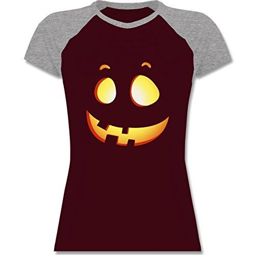 Shirtracer Halloween - Süßer Halloween-Kuerbis Kinder - Zweifarbiges Baseballshirt/Raglan T-Shirt für Damen Burgundrot/Grau meliert