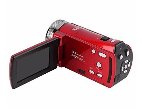 Makibes Amkov Dv163 16Mp Digital Video Camera 2.7 Inch 16:9 270 Degree Rotation Lcd Screen 720P Hd 16X Digital Zoom Dis Anti-Shake (Red)