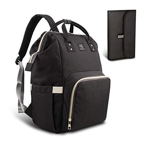 Heyi borsa fasciatoio per pannolini con zaino da viaggio - con sacchetto di isolamento termico, grande borsa a tracolla organizzatore passeggino adatte (nero)