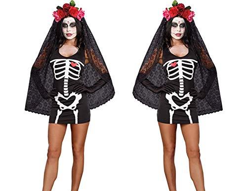 OOFAY Skelett Halloween Kostüm/Halloween Gespenst Horror Kostüm Drucken Polyesterfaser Weihnachten/Tanzparty (Fett Skelett Kostüm)
