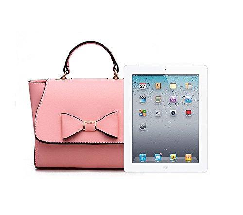 Donne Colore Puro di Ornamento Bowknot Borsa Messenger Borsa a Tracolla Borsetta Rose Pink