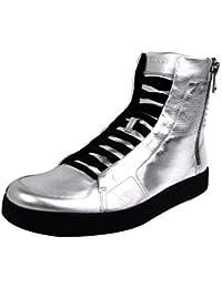 Gucci Limitado de Cuero de Plata edición Hightop Sneakers 376191 8163 (12.5 U.S. / 12
