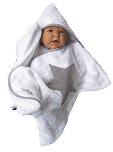 stern star baby wrap kapuzenhandtuch frottee weiß swaddle -