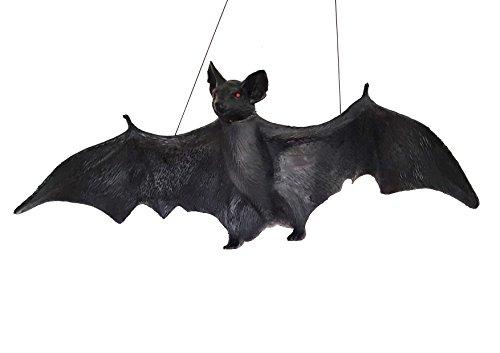 Lebensgroße Vampir Fledermaus aus Latex mit Schnur zum Aufhängen über einen halben Meter gigantisch groß