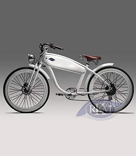 RKM Roller-King-Motors Retro Elektro EBike E Cruiser Fahrrad Pedelec Beachcruiser Fatbike Chopper Electro (Weiß)