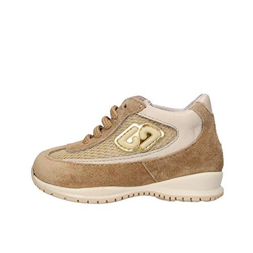 BALDUCCI sneakers bambina 19 EU beige camoscio tessuto pelle AF358-B