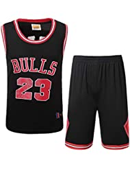 Uomo NBA Michael Jordan # 23 Chicago Bulls Retro Ricamo Traspirante e Resistente Pantaloncini da Basket Summer Jerseys Basket Maglie Uniforme Top e Shorts