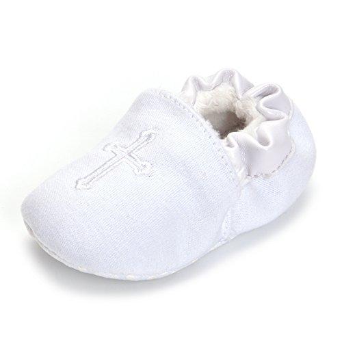 ESTAMICO Baby Jungen Mädchen Winter Weiche Sohle Weiße Kreuz Gestickt Warme Taufe Schuhe 3-6 Monate