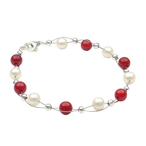 Armband aus Süßwasser Zucht-Perlen creme weiß & Koralle rot, 925 Silber Damen (Creme Perle Armband)