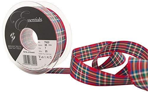 Berisfords Royal Stewart - Cinta de tartán 25 mm
