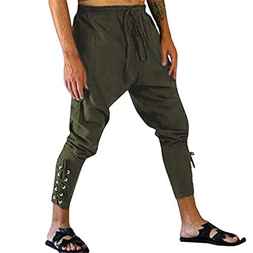 Hanwe Herren Mittelalter Renaissance Piraten-Hose Knöchelband Wikingerhose Cosplay Kostüm - Grün - - Leichte Herren Renaissance Kostüm