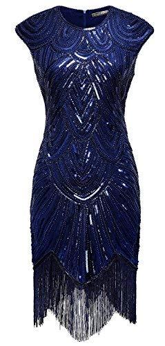 Izacu flocc vestito da sera, da donna, stile anni venti e art deco, con paillette e nappe blue s