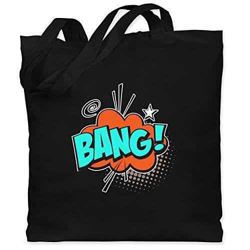 Mädchen Pop Art Kostüm Comic - Shirtracer Karneval & Fasching - Popart Karneval Kostüm BANG! - Unisize - Schwarz - WM101 - Stoffbeutel aus Baumwolle Jutebeutel lange Henkel