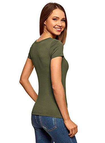 oodji Ultra Damen T-Shirt Basic mit Rundem Ausschnitt Grün (6800N)