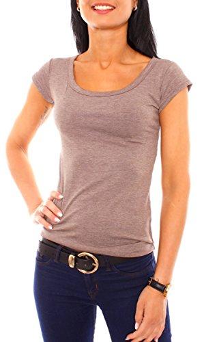 Damen Basic Viscose Jersey Stretch Kurzarm T-Shirt Top Rundhals Ausschnitt Eng Anliegend Slim Fit Uni Einfarbig Braun Meliert M - 38 -
