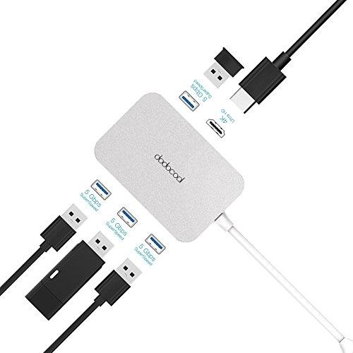 dodocool USB 3.0 Hub 4 Porte con HD Output Convert Tipo C Porta USB 4 Porte SuperSpeed USB 3.0 e 1 Porta di Output HD 4K Lega di Alluminio per MacBook / MacBook Pro / Google Chromebook Pixel Argento