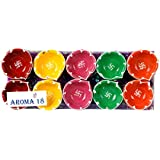 Aroma18 Diya For Decoration | Diya For Puja | Diya Holder Decorative | Diya Lamps For Pooja | Diwali Gifts And Decoration | Diwali Diya Earthen Clay Diyas Aroma Flora Wax Lamp Handmade Premium Set Home Deco Hindu Pooja Round - Reusable (Set Of 10, Handmad