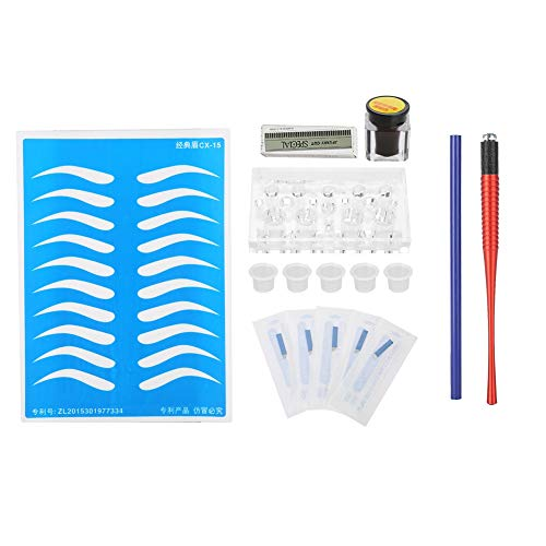 Cobra-kit (Semi Permanent Microblading Augenbraue Tattoo Set, Tattoo Tool Kit Rote Cobra Grain Tattoo Stift + Nadel Tattoo Supplies für Anfänger Professionelle Praxis Werkzeuge)