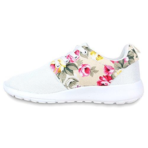 Damen Herren Sneaker Sportschuhe schwarz Turnschuhe Runners mit Blumen Print in mehreren Farben Weiß