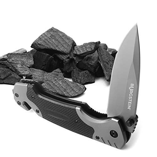 Burgstein® | Outdoor Klappmesser - federunterstützt mit rostfreier Edelstahlklinge, 3-in-1 Multi-Funktions Survival-Messer mit Glasbrecher & Gurtschneider, Einhandmesser, Taschenmesser