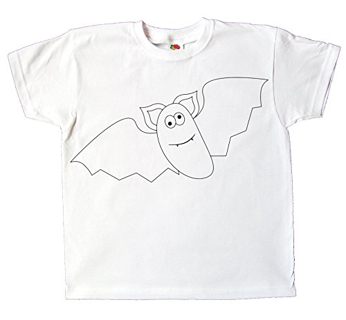 Kinder T-Shirt Fledermaus zum bemalen und ausmalen mit Vordruck Spiel zum Kindergeburtstag Kindergarten für Jungen und Mädchen (128)