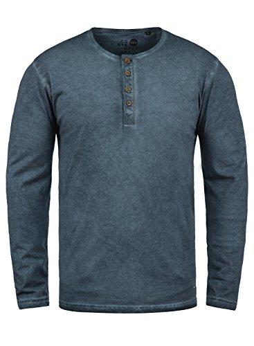 !Solid Timur Herren Longsleeve Langarmshirt mit Grandad- Ausschnitt aus 100% Baumwolle Slim Fit Meliert, Größe:L, Farbe:Insignia Blue (1991)