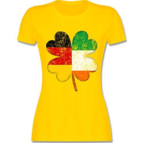 Shirtracer St. Patricks Day - Deutschland Irland Kleeblatt - Damen T-Shirt Rundhals Gelb