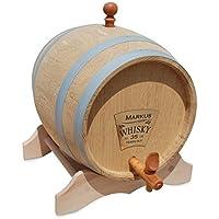 CEBEGO Whiskyfass, Whiskeyfass mit Ihrer persönlichen Gravur,Eichenfass für Brände, Whisky usw, Holzfass mit Zapfhahn braun
