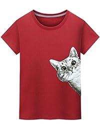 ALIKEEY Camiseta Casual de La Camiseta de La Impresión del Gato de La Moda de Los nuevos Hombres del Verano F8daYt