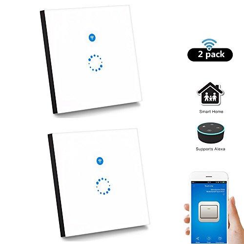 2 Stück Sonoff Touch Schalter( Funktioniert mit Amazon Alexa [Echo, Echo Dot] und Google Home ) 1-Weg Touchscreen Lichtschalte Wasserdichter Wandschalter Touch Panel Schalter - weiß(Neutralleiter Benötigt)