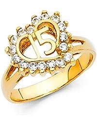 Quinceañera 14 K Sólido Amarillo Oro Corazón Cúbico Zirconia anillo
