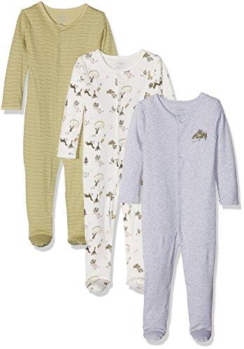 Mamas & Papas Pack of 3 Dino Sleepsuits Pelele, Verde, 12 Meses...