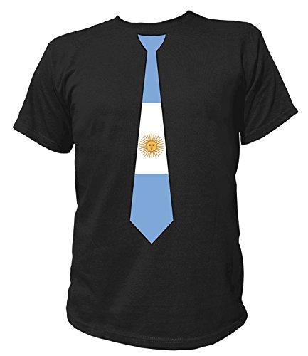 Artdiktat Herren T-Shirt   Argentinien Argentina   Krawatte Tie   Wm Weltmeisterschaft 2018 Russia Russland Größe S, Schwarz (Adidas-argentinien-weltmeisterschaft)