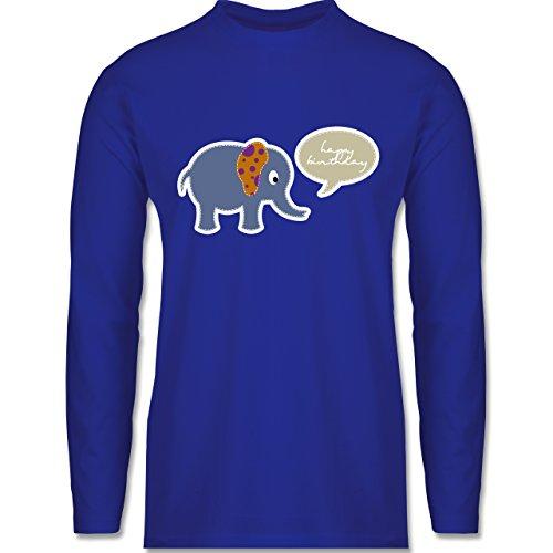 Shirtracer Geburtstag - Elefant Happy Birthday - Herren Langarmshirt Royalblau