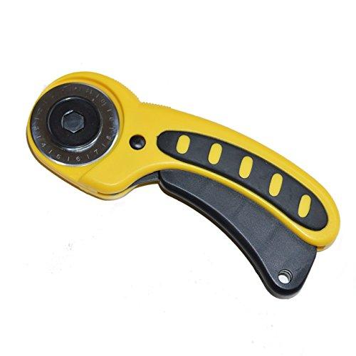 VIMA Rollschneider - Premium Stoffschneider, verbesserte Version (2016) mit inkludierter 45mm Klinge und Anti-Rutsch-Griff (gelb/schwarz)