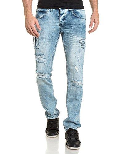 BLZ jeans - Jean bleu clair homme délavé avec pièces et déchiré Bleu
